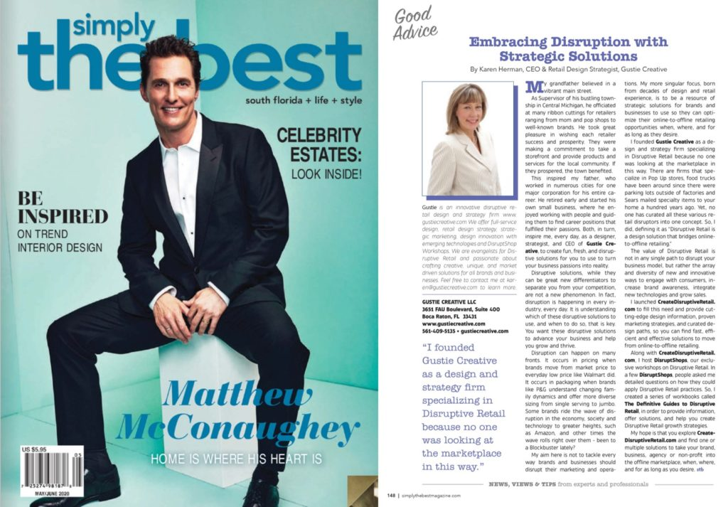 Simply the Best Magazine May 2020 and Embracing Disruption with Strategic Solutions, Karen Herman, Gustie Creative