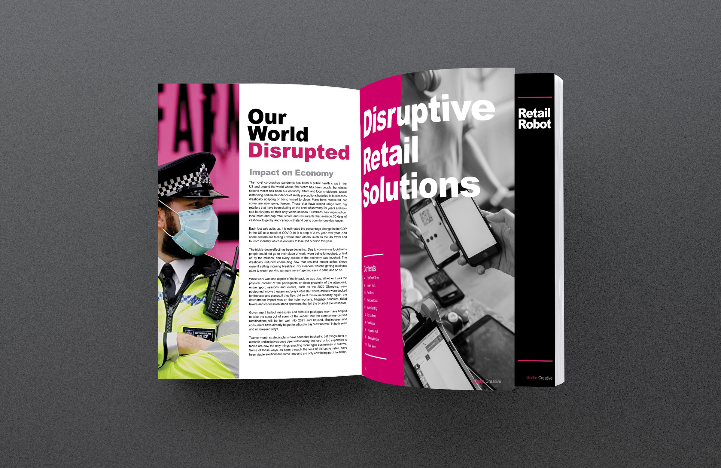 Solutions for Disrupting Disruption, COVID-19 Handbook, The Essential Guide for Brands and Businesses, Inside Spread, Gustie Creative LLC
