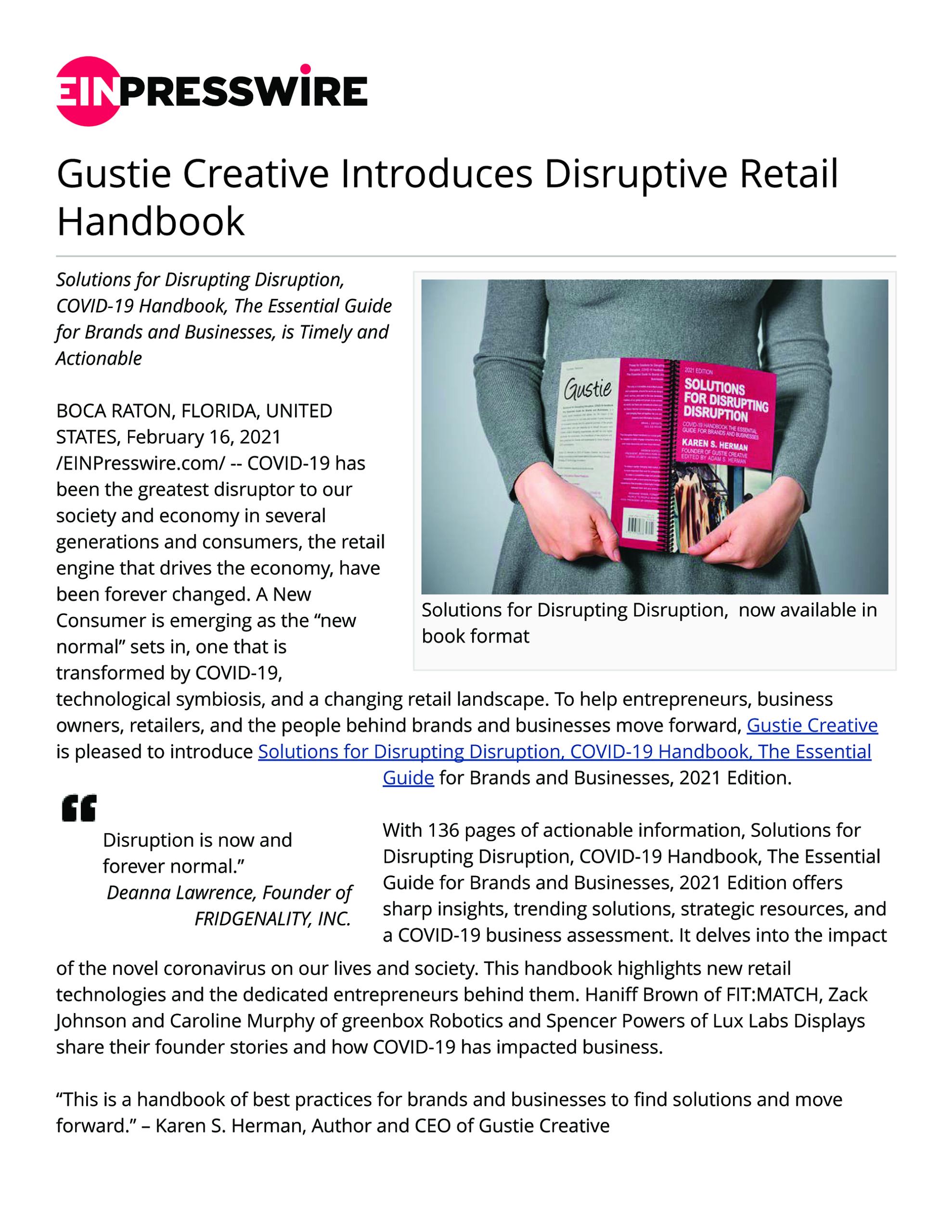 Gustie Creative Introduces Disruptive Retail Handbook
